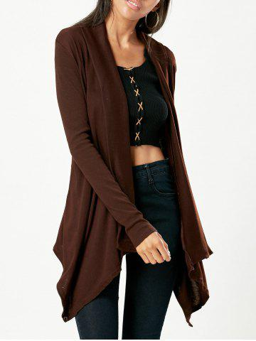 Fashion Chic Turn-Down Neck Long Sleeve Pure Color Women's Cardigan