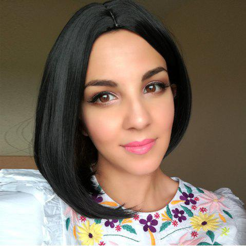 Affordable Short Straight Side Parting Capless Synthetic Wig BLACK