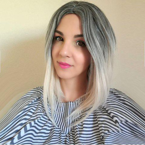 New Trendy Short Straight Mixed Color Side Parting Women's Synthetic Hair Wig