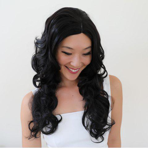 Outfit Gracefully Long Side Parting Black Loose Wave Women's Synthetic Hair Wig