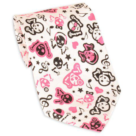 Latest Cartoon Skull Print 10CM Width Neck Tie PINK
