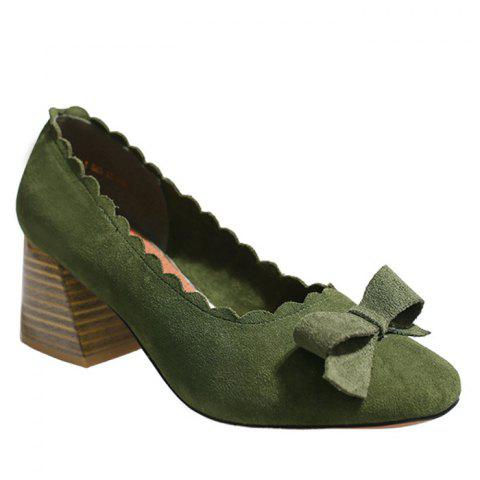 Discount Scalloped Bow Chunky Heel Pumps - 39 GREEN Mobile