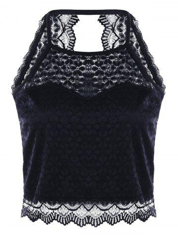 Latest Lace Open Back Scalloped Tank Top BLACK M