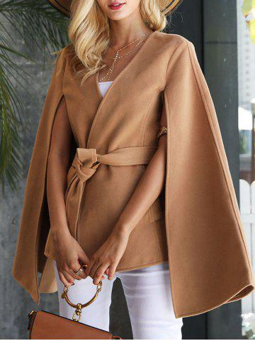 Fashion Split Wool Blend Poncho Wrap Coat CAMEL 2XL