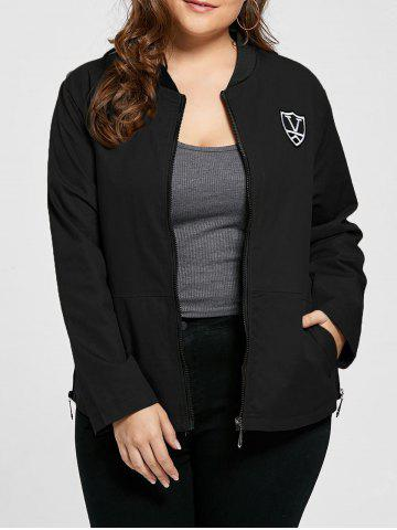 Chic Plus Size Pocket Embroidered Zipper Jacket