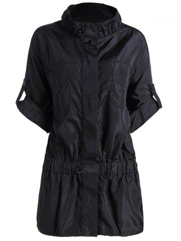 Fashion Plus Size Button Up Pocket Jacket