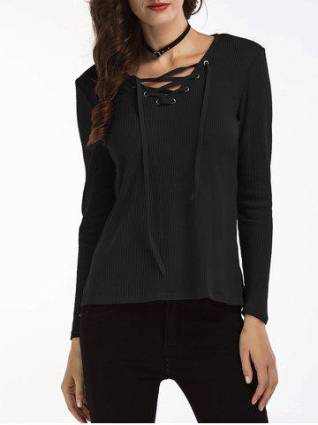 Lace Up V Neck Ribbed Sweater