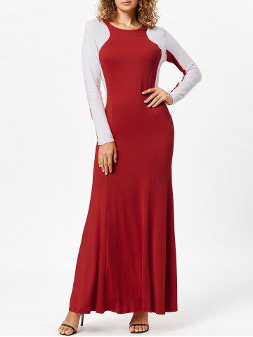 Trendy Maxi Two Tone Long Sleeve Evening Dress RED XL