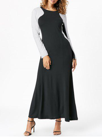 Discount Maxi Two Tone Long Sleeve Evening Dress - XL BLACK Mobile
