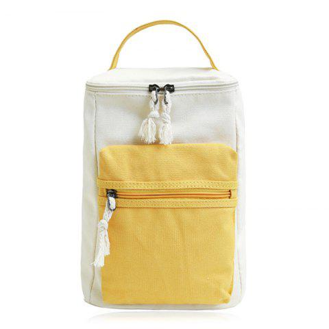 Hot Canvas Colour Block Zippers Backpack - YELLOW  Mobile