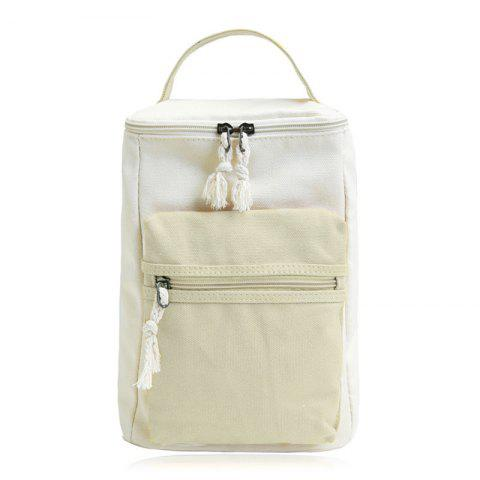 Shop Canvas Colour Block Zippers Backpack LIGHT KHAKI