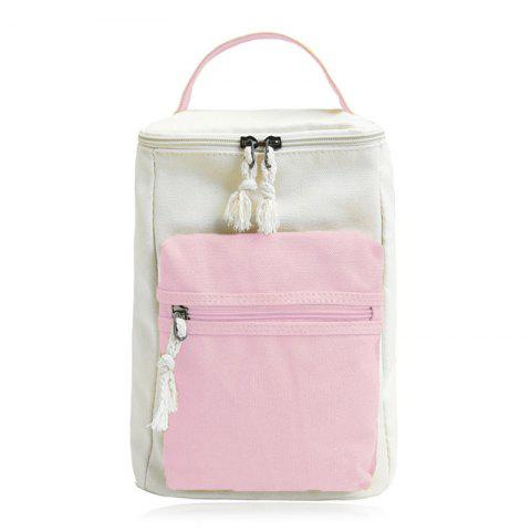Fashion Canvas Colour Block Zippers Backpack