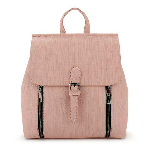 Outfit Buckle Strap Double Zippers Backpack