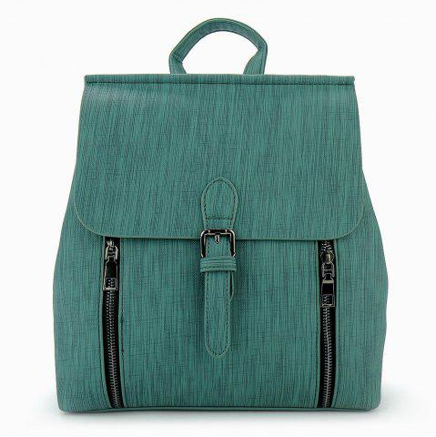 Online Buckle Strap Double Zippers Backpack - GREEN  Mobile