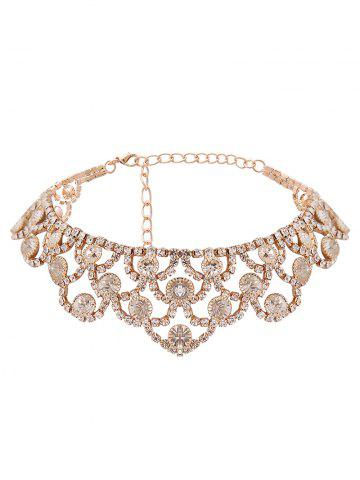 Collier brillant en alliage strass brillant Or