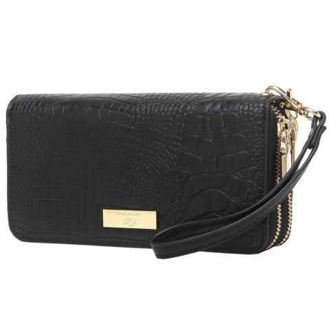 Hot Embossing Leather Double Zippers Wristlet Wallet - HORIZONTAL BLACK Mobile