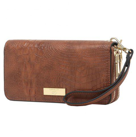Latest Embossing Leather Double Zippers Wristlet Wallet BROWN HORIZONTAL