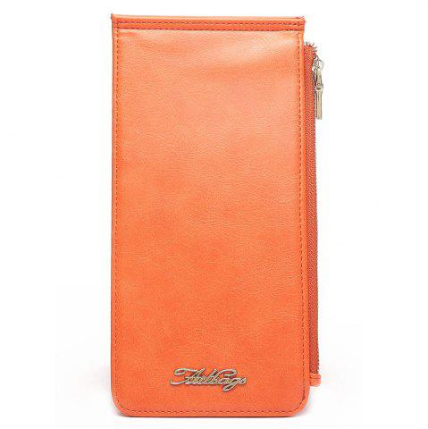Latest Zip Faux Leather Wallet - VERTICAL ORANGE Mobile