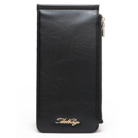 Outfits Zip Faux Leather Wallet BLACK VERTICAL