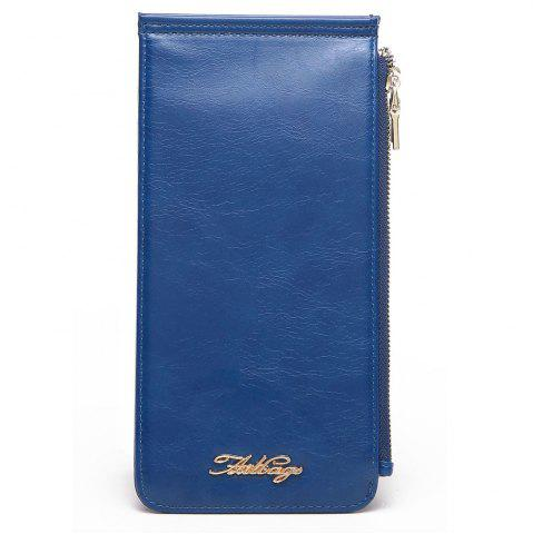 Trendy Zip Faux Leather Wallet BLUE VERTICAL