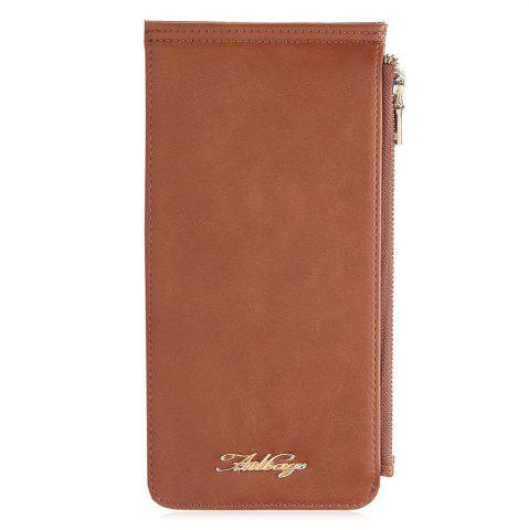 Zip Faux Leather Wallet Brun Vertical