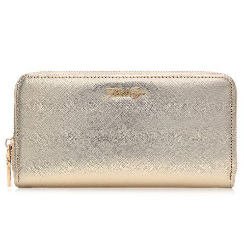Unique Letter Faux Leather Zipper Around Clutch Wallet