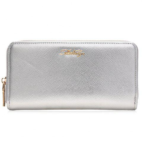 Fashion Letter Faux Leather Zipper Around Clutch Wallet SILVER HORIZONTAL