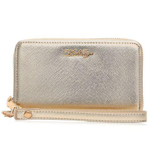 New Zipper Around Faux Leather Letter Clutch Bag - HORIZONTAL GOLDEN Mobile
