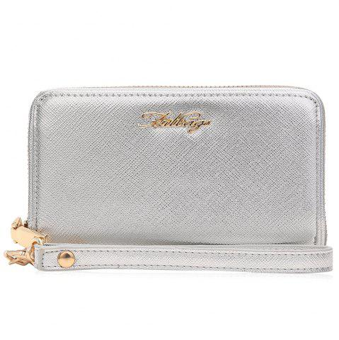 Trendy Zipper Around Faux Leather Letter Clutch Bag
