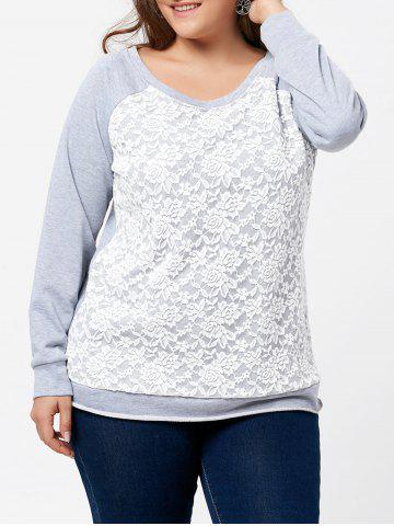 Discount Plus Size Pullover Raglan Sleeve Lace Panel Sweatshirt - 2XL GRAY Mobile