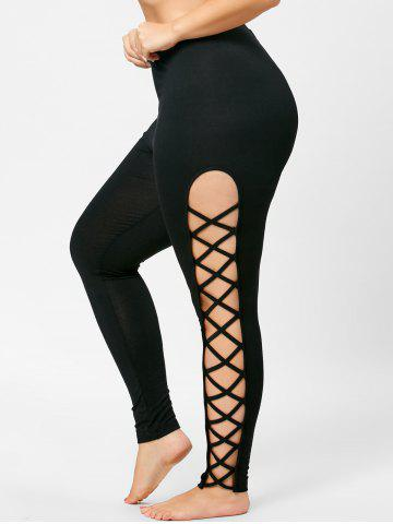 Skinny Plus Size Cut Out Lattice Leggings Noir XL