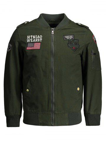 Shop Applique Enbroidered Bomber Jacket - 4XL ARMY GREEN Mobile