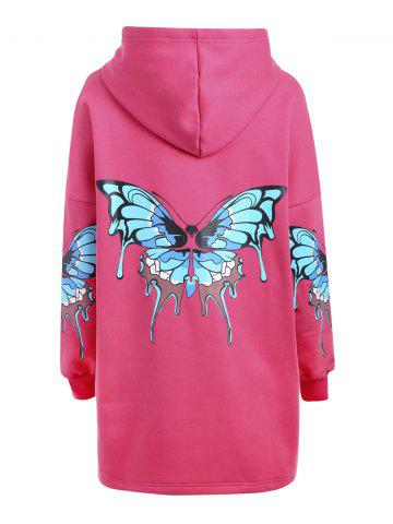 Cheap Plus Size Butterfly Printed Zip Up Hooded Coat
