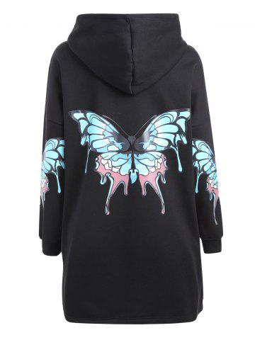 Unique Plus Size Butterfly Printed Zip Up Hooded Coat - 3XL BLACK Mobile