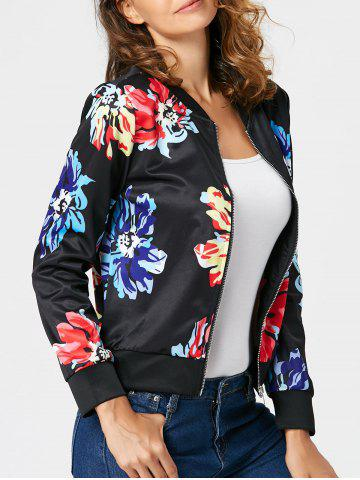 Cheap Zipper Printed Long Sleeve Jacket - 2XL BLACK Mobile