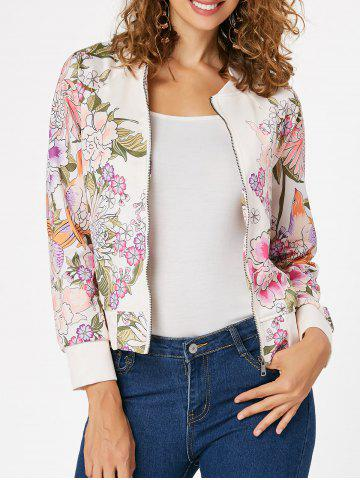 Unique Zipper Printed Long Sleeve Jacket - 2XL OFF-WHITE Mobile