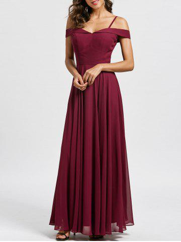 Shops Spaghetti Strap Cold Shoulder Formal Evening Dress - 2XL WINE RED Mobile