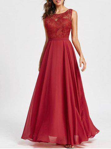 Cheap Sleeveless Lace Panel Evening Dress - L RED Mobile