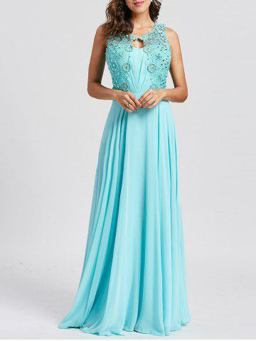 Online Floral Lace Keyhole Rhinestone Embellished Evening Dress