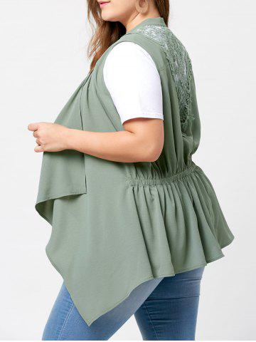 Unique Plus Size Lace Panel  Waterfall Wasitcoat - 3XL PEA GREEN Mobile