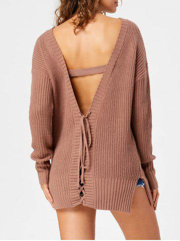 Chic Lace Up Open Back Sweater - M LIGHT COFFEE Mobile