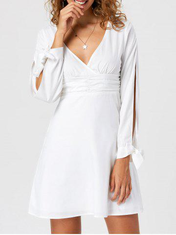Best Tie Cuff Slit Sleeve Mini Short Skater Dress - M WHITE Mobile