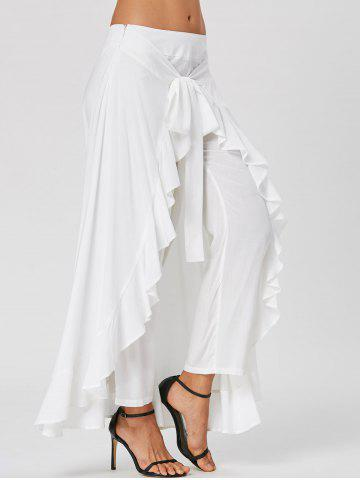 Store Ruffle Tie Front Flowy Skirted Pants - M WHITE Mobile