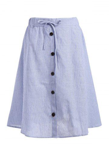 Trendy Plus Size Button Embellished Striped Drawstring Skirt