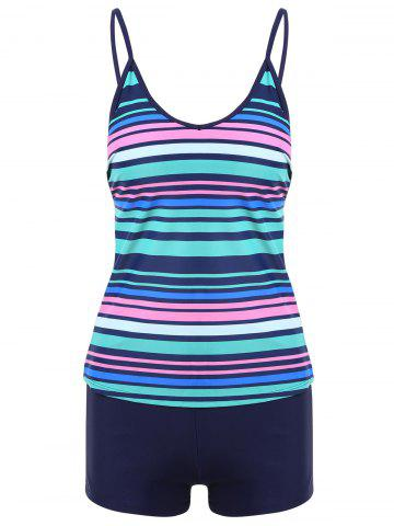 Fashion Striped Boyshorts Cami Tankini Set