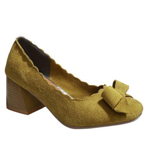 New Scalloped Bow Chunky Heel Pumps