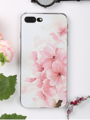 Peach Flowers Pattern Protective Phone Case For Iphone - LIGHT PINK - FOR IPHONE 7 PLUS