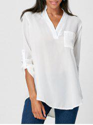 Simple V-Neck Solid Color 3/4 Sleeve Blouse For Women -