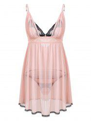 Low Cut Mesh Slip Babydoll Dress - Rose Clair TAILLE MOYENNE