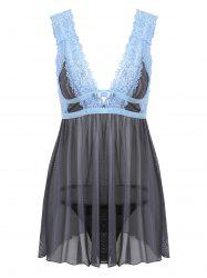 Low Cut Lace Sheer Backless Babydoll - GRAY S